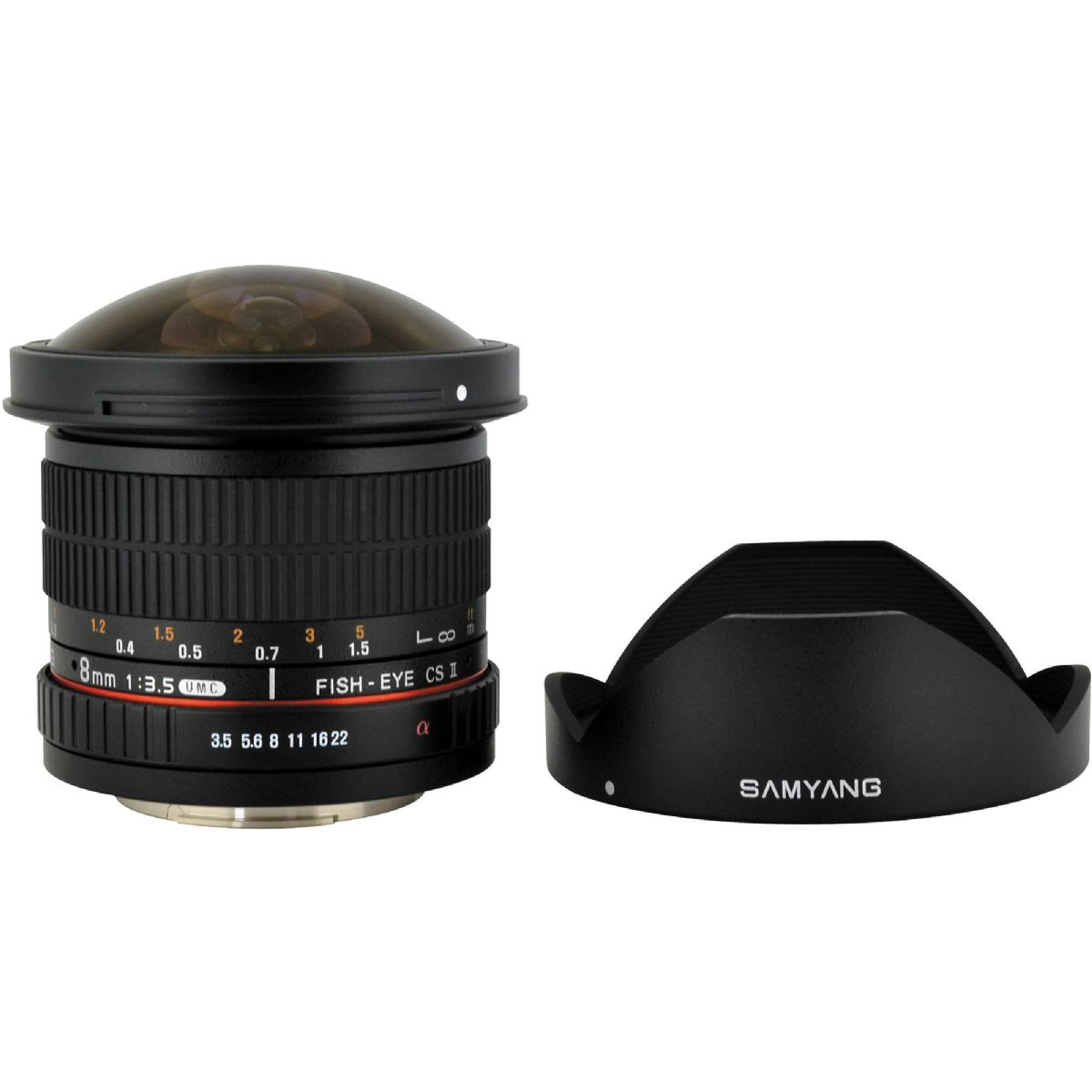 Samyang 8mm f3 5 umc fisheye cs ii a mount lens info for Fish eye lens